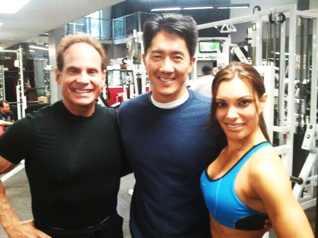 filming-sports-drinks-segment-with-nbc-news-anchor-ted-chen-and-fitness-celebrity-trainer-michael-torchia
