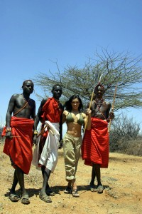 Cat and Samburu Villagers